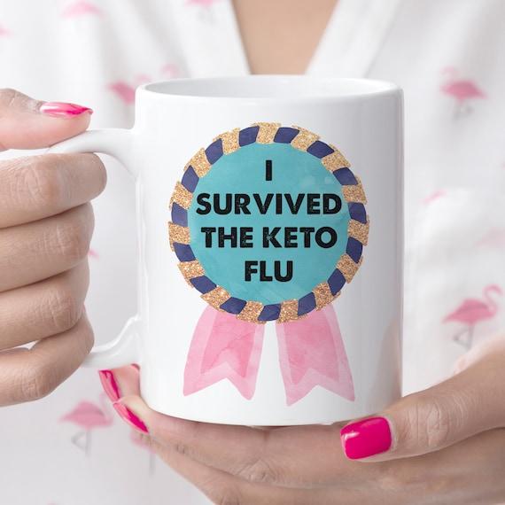 Keto Coffee Mug Keto Flu Survivor Medal Funny Keto Cup   Microwave and Dishwasher Safe   Ceramic Coating Made in USA