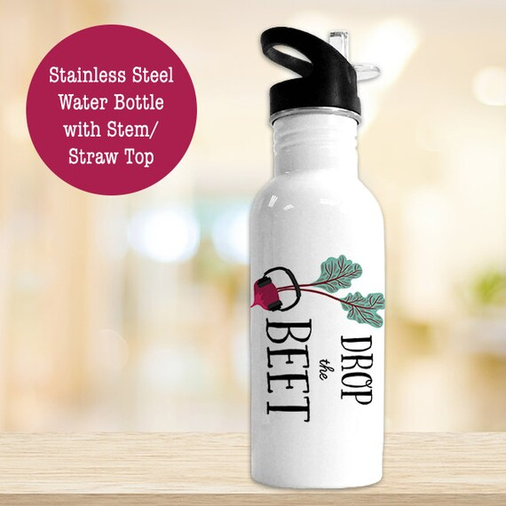 Stainless Steel Water Bottle - Drop the Beet - Funny Fruit and Veggie - BPA Free Eco Friendly Water Bottle