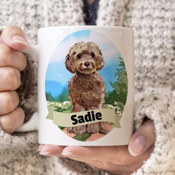 Brown Cockapoo Custom Dog Mug - Get your dogs name on a mug - Dog Breed Mug - Great gift for dog owner - Brown Cockapoo mug