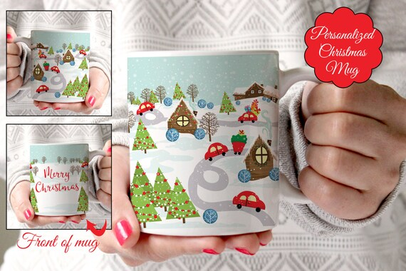 Coffee Mug Personalized Snowy Town Christmas Coffee Cup