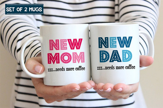 Coffee Mug Set of TWO MUGS. New Mom and New Dad Coffee Mug Set - Needs Coffee - Great for New Parents - Baby Shower Gift