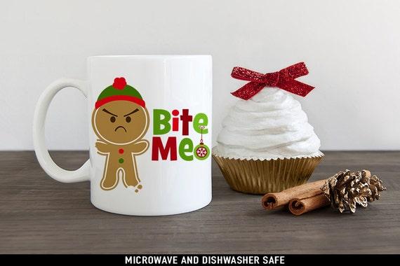Bite Me Gingerbread Cookie Christmas Mug - Funny Christmas Cup - Funny Holiday Mugs
