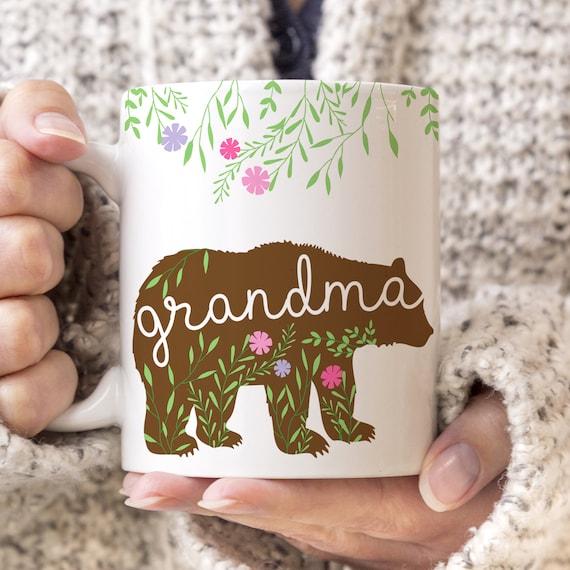 Grandma Bear Coffee Mug - Pretty Floral Grandma Coffee Mug - Gift for Grandmother