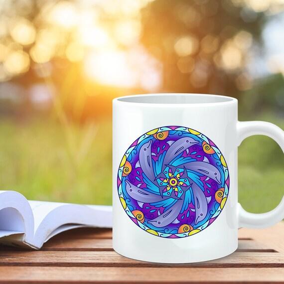 Coffee Mug Dolphin Mandala Design Coffee Cup - Dolphin Coffee Mug