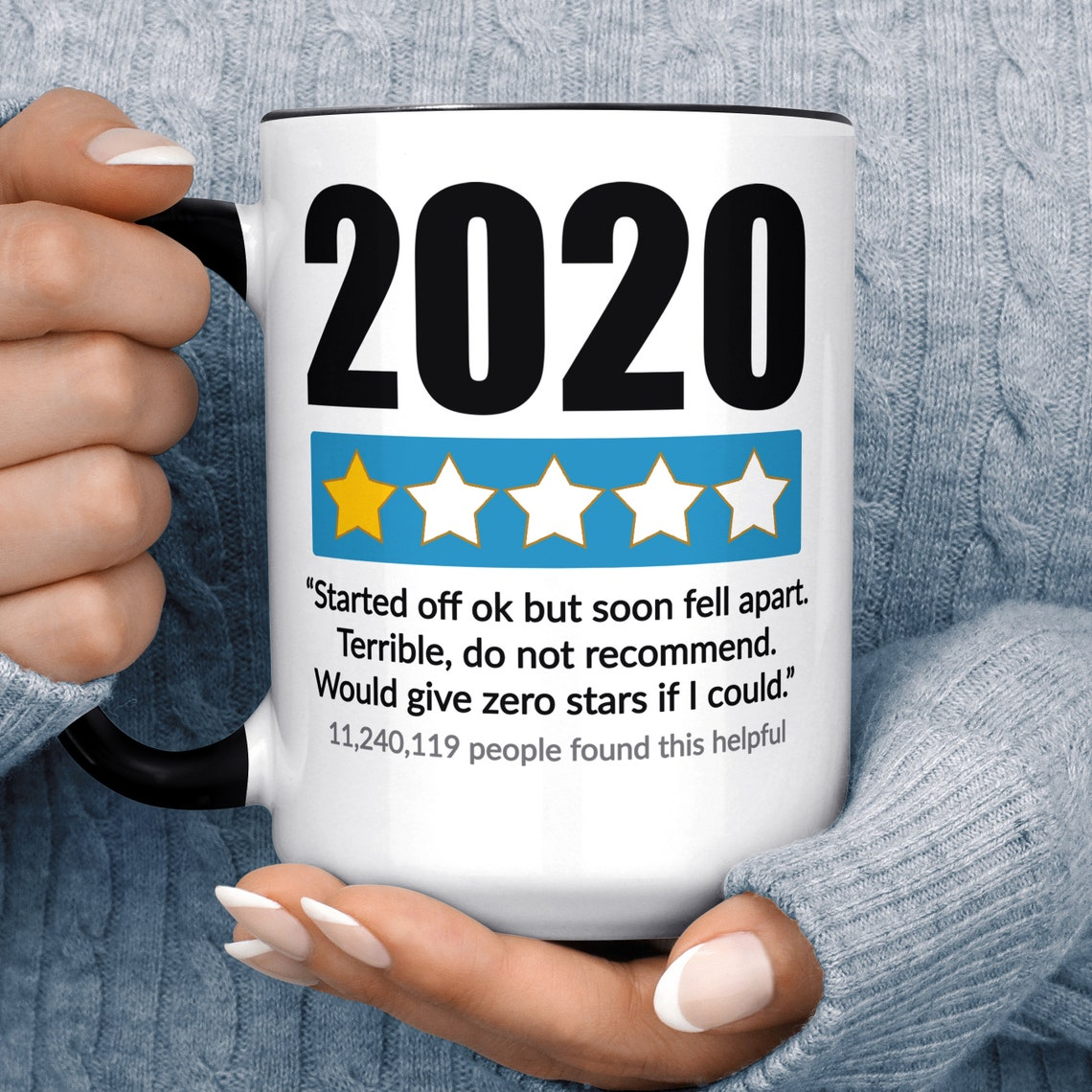 Funny 2020 Sucks 1 Star Amazon Review Parody Coffee Mug 15 oz Black Accent