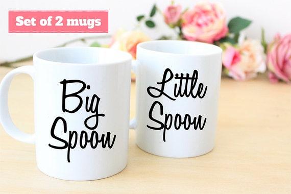 Coffee Mug Set of Big Spoon and Little Spoon Coffee Mugs
