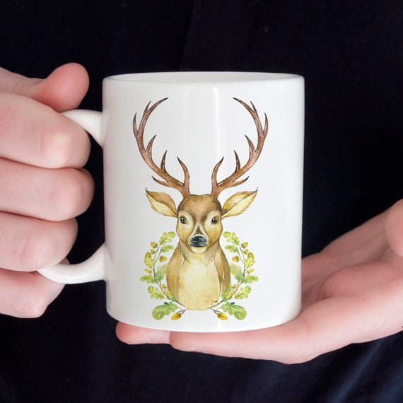 Coffee Mug Deer with Antlers Ceramic Coffee Mug | Microwave and Dishwasher Safe | Coating Made in USA