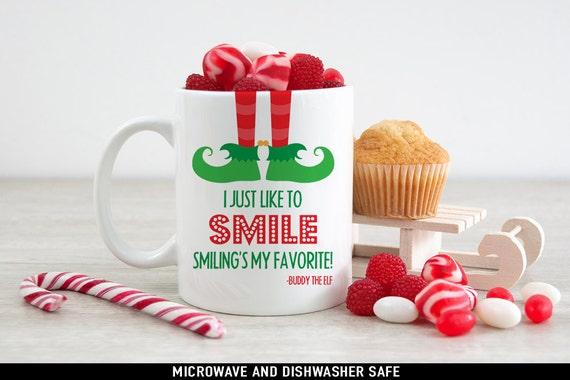 Coffee Mug I Just Like to Smile Smiling's My Favorite Elf Christmas Coffee Mug - Funny Holiday Mug