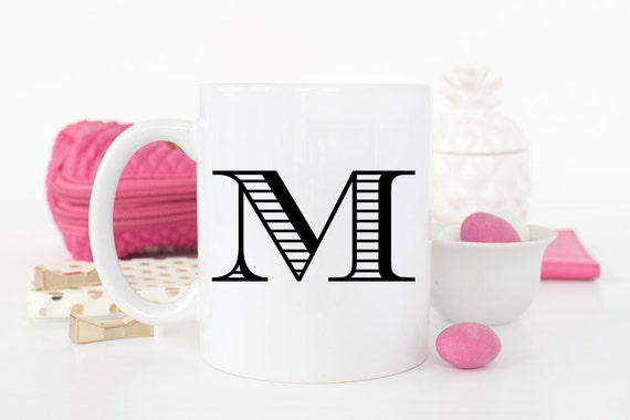 Coffee Mug Monogram Initial - Single Initial Monogram - Initial Coffee Cup