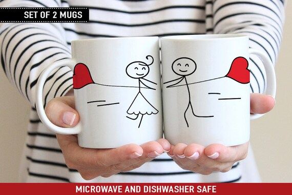 Coffee Mug Cute Stick Figure Couple With Heart Balloons Mug Set - Couple Cup Set - Personalize with Names