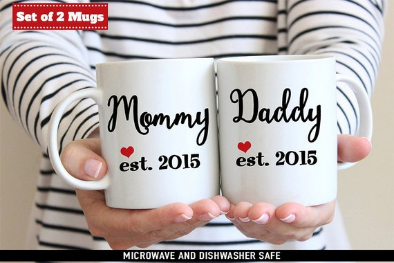 Coffee Mug Mommy and Daddy Coffee Mug Set - With Cute Heart and Year of Birth - Great for New Parents - Baby Shower Gift