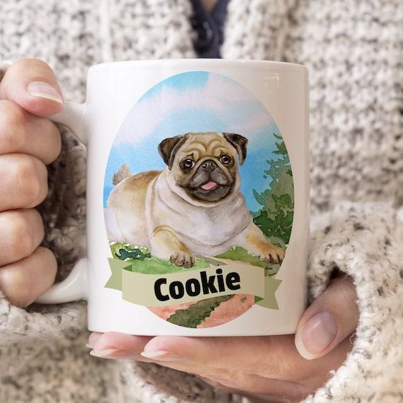 Pug Custom Dog Mug - Get your dogs name on a mug - Dog Breed Mug - Great gift for dog owner - Pug mug