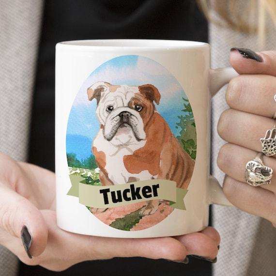 English Bulldog Custom Dog Mug - Get your dogs name on a mug - Dog Breed Mug - Great gift for dog owner - English Bulldog