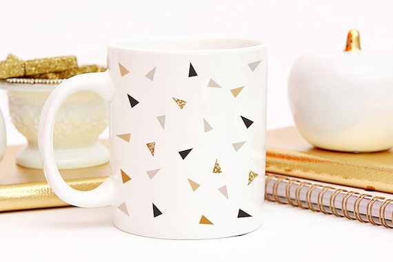 Coffee Black and Gold Triangles Coffee Cup - Minimalist Coffee Cup - Great Housewarming Gift