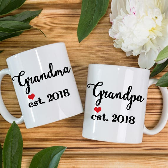 Coffee Mug New Grandma and Grandpa coffee mug set - With Cute Heart and Year of Birth - Great for New Grandparents - Baby Shower Gift