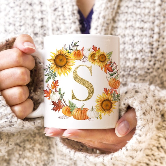 Fall Autumn Monogram Initial Coffee Mug Pumpkins