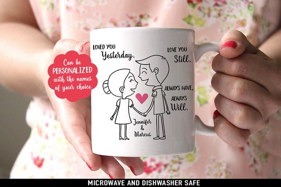 Coffee Mug Valentines Day Coffee Cup - Personalized Cute Couple with Poem Gift - Great Wedding Gift - Customize with Names