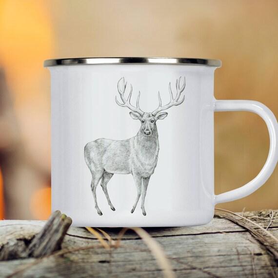 Deer Camp Cup - Illustrated Deer Enamel Mug - Dishwasher Safe