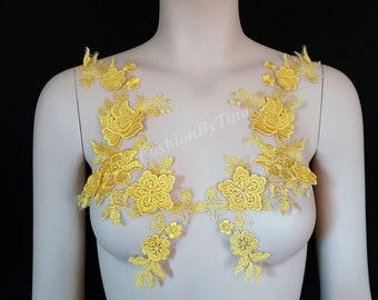 2154952ddc7 Yellow 3D applique long floral pair lace applique for Bridal