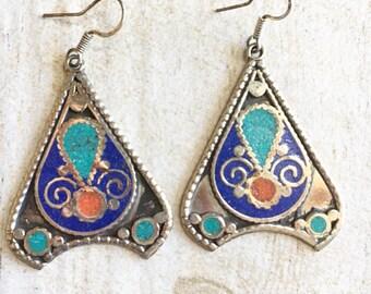 Long ethnic earrings, long stone earrings, long blue earrings, long rustic earrings
