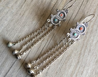 Long ethnic silver earrings, long boho earrings, dangle silver earrings, Tibetan silver earrings