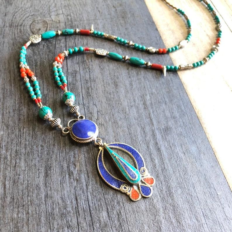 Long Nepali Style Beaded Necklace