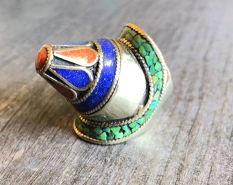 Big Powerful Ethnic Gemstone Ring
