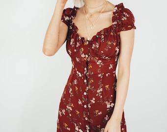 eb9df2947 Maroon Floral Dress