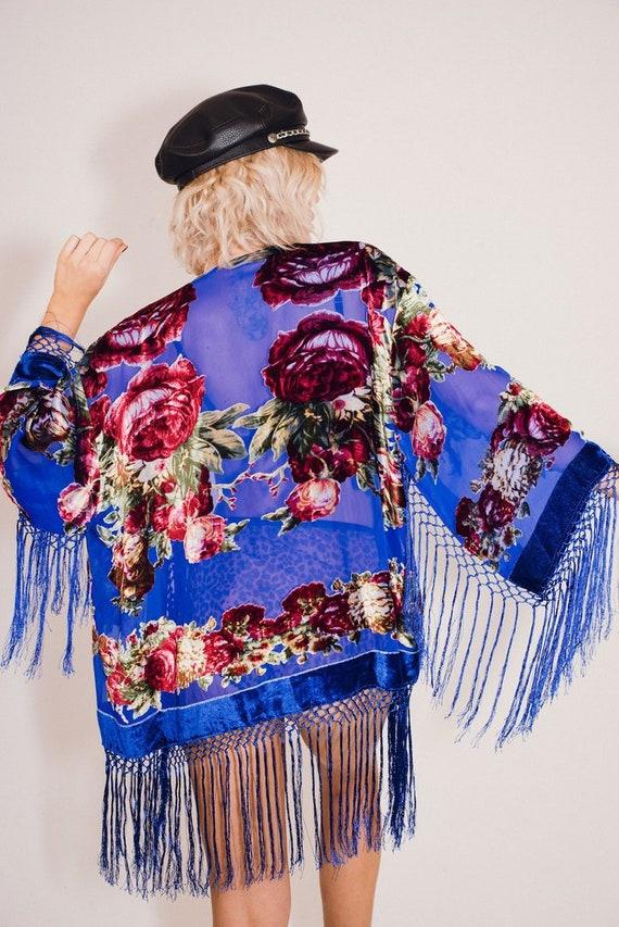 Paisley Kimono with extra long fringe Hot Sale burnout Devoré
