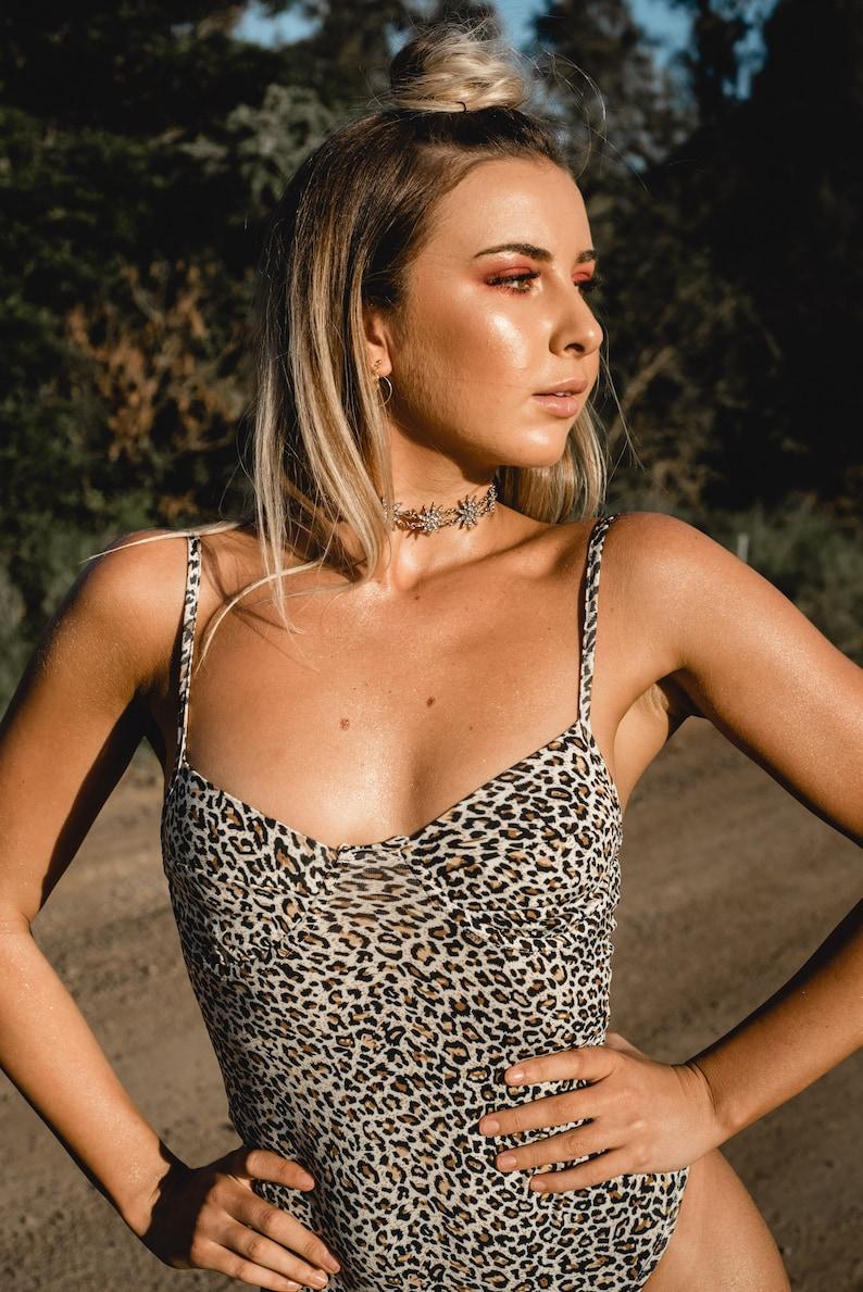 Playsuit 90s Inspired Animal Print Bodysuit Leopard Print Bodysuit Bodysuit