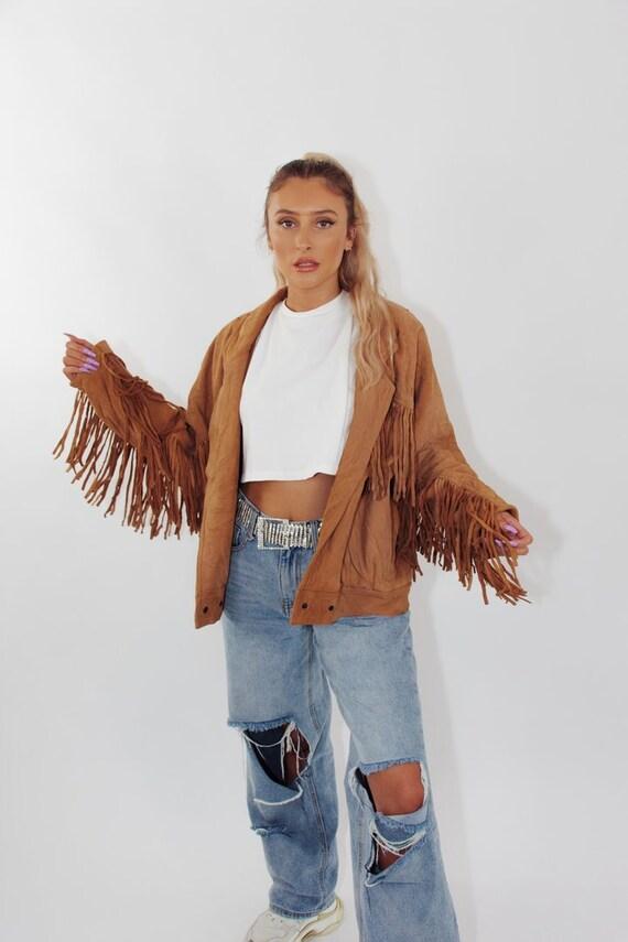 Vintage Fringed Suede Leather Jacket    Fringe Jac