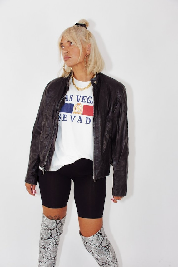 Vintage 90s Leather Biker Jacket || 90s Jacket ||