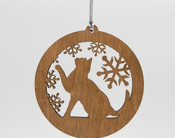 Cat Christmas Wood Ornament - Playful Cat Silhouette Laser Cut Wooden Tree Decoration - Kitty Ornament - Cat Carved Wood Ornament
