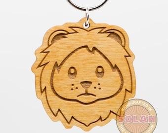 Lion Emoji Wood Keychain - Lion Emoji Carved Wood Key Ring - Lion Emoticon Engraved Charm