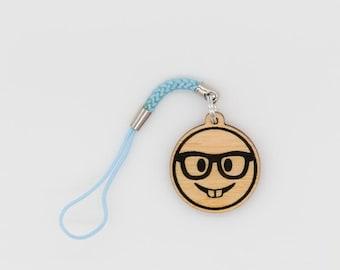 Nerd Emoji Wood charm - Nerdy Face Emoji Carved Wood charm - Nerd Emoji Engraved Charm - Buck Teeth emoji