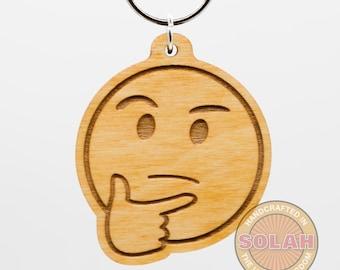 Thinking face Emoji Keychain - Thinking face Emoji Carved Wood Key Ring - Thinking Emoji Wooden Engraved Charm