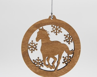Horse Christmas Wood Ornament - Horse Silhouette Laser Cut Wooden Tree Decoration - Stallion Ornament - Pony Ornament