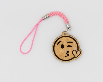 Kissing Face Emoji Charm - Face Blowing A Kiss Emoji Carved Wood Charm - Kiss Face Emoji Wooden Engraved Charm