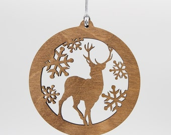 Deer Christmas Wood Ornament - Wildlife Silhouette Laser Cut Wooden Tree Decoration - Stag Ornament - Woodland Animal Ornament