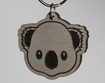 Grey Koala Bear Emoji Keychain - Koala Bear Face Emoji Carved Wood Key Ring - Koala Emoji Wooden Engraved Charm