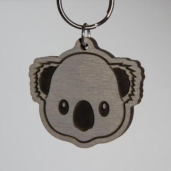 Grijze Koala Bear Emoji Sleutelhanger Koala Beer Gezicht Etsy