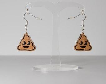 Poo Emoji Earrings - Poop Emoji Wooden 20mm Earrings - Smiling Pile of Poo Wood Earrings
