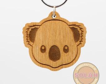 Koala Bear Emoji Keychain - Koala Bear Face Emoji Carved Wood Key Ring - Koala Emoji Wooden Engraved Charm