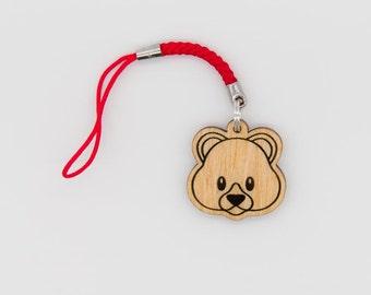Teddy Bear Emoji charm - Bear Face Emoji Carved Wood charm - Cute Bear Emoji Wooden Engraved Charm