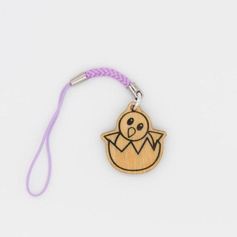 Hatching Chick Emoji Charm - Baby Chicken Emoji Carved Wood Charm -  Hatching Baby Chick Emoji