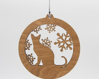 Cat Christmas Wood Ornament - Sitting Cat Silhouette Laser Cut Wooden Tree Decoration - Kitty Ornament - Cat Ornament