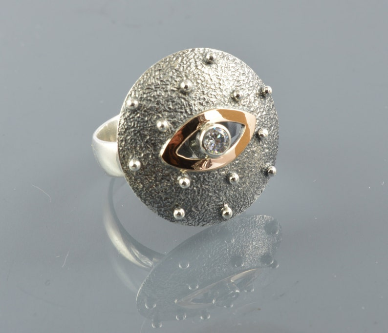 Round ring love ring sterling silver 925 and red gold 14 k image 0