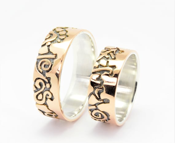Personalized Wedding Rings Silver Gold 14k Handmade Wedding Etsy