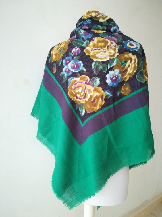 Big shawl Basile foulard scarf butterfly wool and