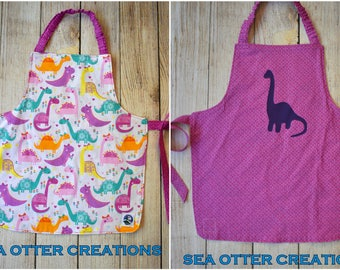 Reversible Toddler/Child Apron, Pink and Purple Dinosaur
